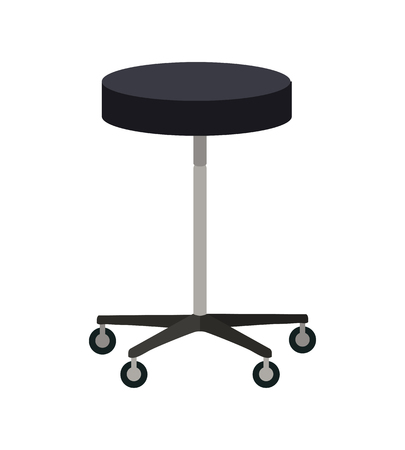 bar stool chair: Stool on wheels vector. Flat design. Simple round chair with four wheels. Traditional furniture for clinic, bar, hairdresser, shop, office. Isolated on white background.