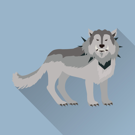 grey wolf: Grey wolf in the collar with spikes outside. Wolf with showing fangs. Stylized fantasy character. Game object in flat design isolated on blue background. Vector illustration