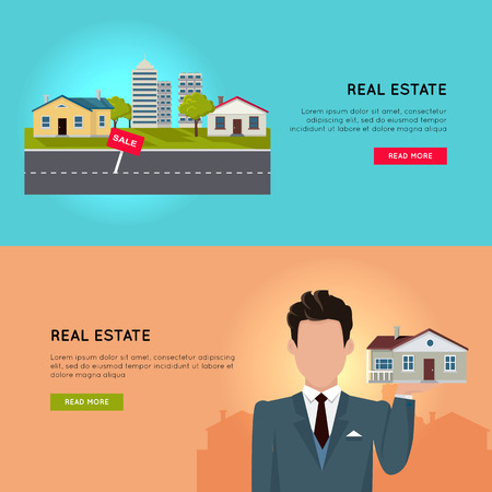 housing estate: Set of real estate vector conceptual web banners in flat style. Selling and buying a new place for living.  Illustration for real estate company web page design, advertising, housing concepts.