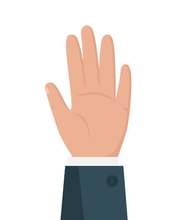 facing right: Human hand vector illustration in flat style design. Businessman palm facing  right. Human gesture illustration for business presentation concepts, infographic. Isolated on white background.