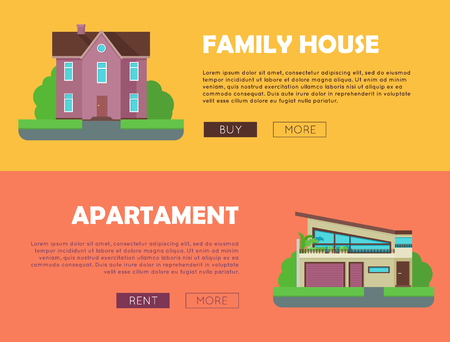 housing estate: Set of real estate vector web banners in flat style. Family house and apartment horizontal illustrations for real estate company web page design, advertising, housing concepts.