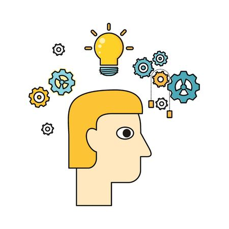illuminating: Idea and brainstorm vector in flat style. Human face with bulb and gears Illustration for intellectual concept, illuminating stores ad, application icons, logo design. Isolated on white background.