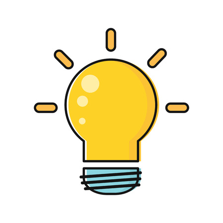 illuminating: Electric light bulb vector in flat style. New idea and brainstorming. Illustration for intellectual concept, illuminating stores ad, application icons, logo design. Isolated on white background.