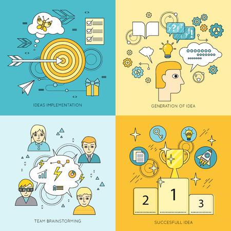 business idea: Set of idea concept vectors. Flat style. Ideas implementation, generation of idea, team brainstorming, successful idea illustrations for business, science, education companies ad, web page design.