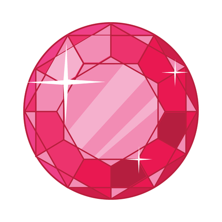ruby gemstone: Beautiful red ruby icon. Bright shiny round ruby gemstone in flat. Diamond shape. Ruby red garnet jewel crystal with sparkles. Isolated vector illustration on white background.