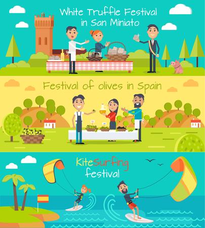 truffe blanche: Truffe blanche festival à San Minato, festival d'olives bannière Espagne, kite bannières festival de surf réglé. Appartement design de style. Principales Espagne divertissement festivals. Événement de vacances. Vector illustration