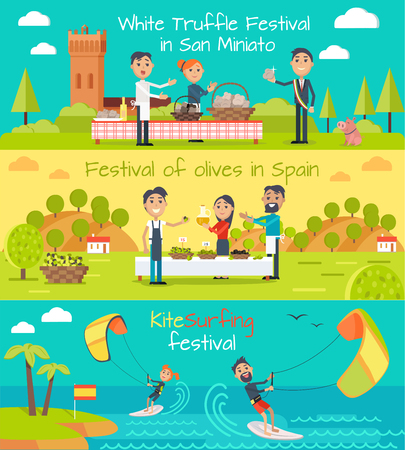 mediterranean: White truffle festival in San Minato, festival of olives banner Spain, kite surfing festival banners set. Flat style design. Main Spain entertainment festivals. Holiday event. Vector illustration Illustration