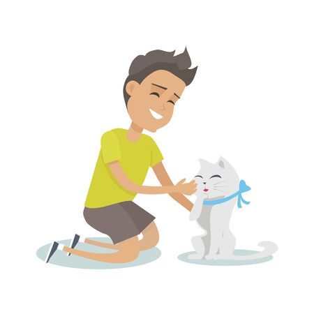 Playing with pet vector illustration in flat style design. Smiling boy playing with cute cat with illustration. Animal assisted therapy concept. Isolated on white background.