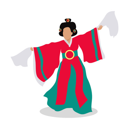 eastern culture: Eastern dancer isolated. Folk dance concept flat design. Arabic dancer. Azerbaijan dancing in traditional culture costume. Girl perform in national cloth. Body dancer. Lady in colorful dress. Vector Illustration