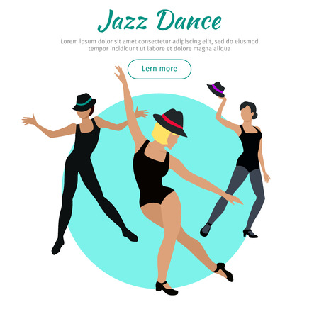 Jazz dance concept web banner. Flat style vector. Three women in tights, shirts and hats dancing. Contemporary choreography. For dancing school, party, cultural event, festival web page landing design Illustration