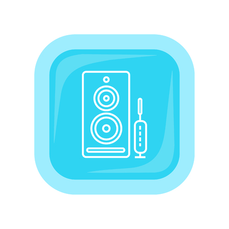 computer button: Computer speakers web button isolated on white. PC loudspeakers. Modern stereo system. Acoustic device. Dynamics sign symbol. Amplifier accessories. Dolby surround element. Vector illustration