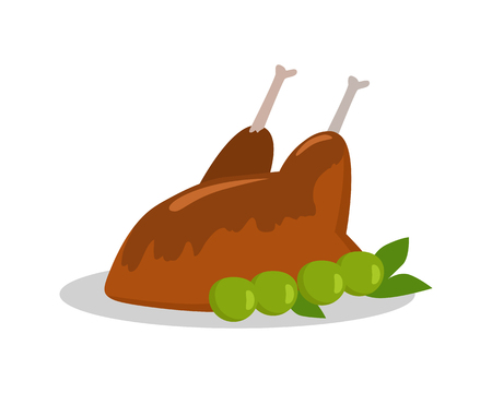 meat diet: Food banner. Grilled delicious meat Junk unhealthy food. Consumption of high calories nourishment food. Food that leads to overweight. Part of series of promotion healthy diet and good fit. Vector