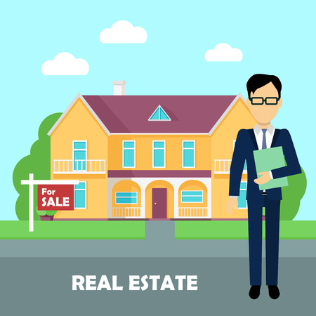 housing style: Real estate broker at work. Real estate agent, house building, property home, realtor and rent, sale housing, buy apartment. Part of series of modern buildings in flat design style. Vector