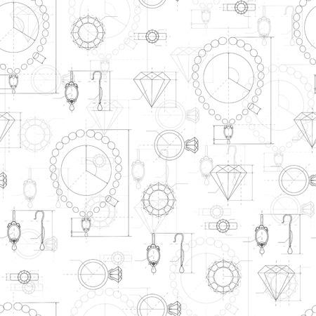 보석 생산 스케치 원활한 패턴입니다. 반지, 목걸이, 귀걸이, 보석의 손으로 그린 스케치. 다이아몬드 유닛 컬렉션의 초안 개요. 화려한 요소의 프