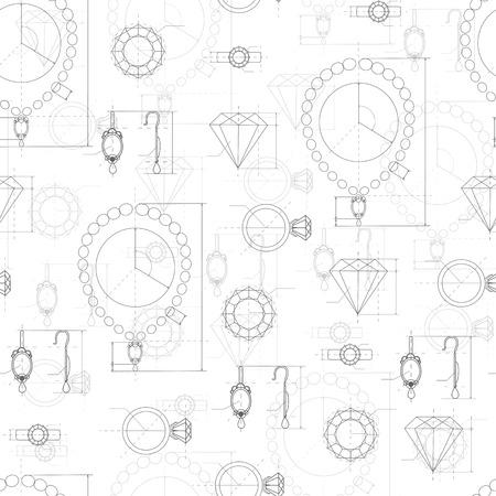 Jewelry production sketch seamless pattern. Hand drawn sketch of ring, necklace, earrings, precious stone. Draft outline of diamond units collection. Project of brilliant elements. Vector Vettoriali