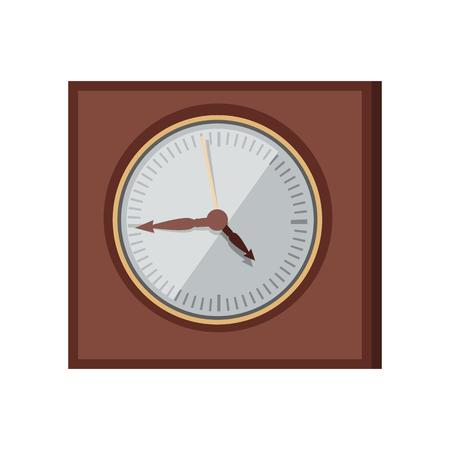 cronógrafo: Vector de la pared del reloj en el diseño de estilo plano. Elegante cronógrafo cuadrado clásico en el cuerpo de madera. elemento de Interior de la antigüedad. medida de tiempo y concepto de la cronología. Aislado en el fondo blanco Vectores
