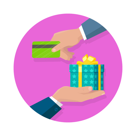 event management: Buying gifts vector in flat design. Surprise in colored box with ribbon. Shopping, sales, discount concept. Man hands with packed present and credit card. For decoration, event management companies ad