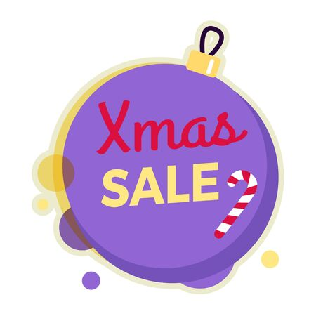 big ball: Xmas sale round banner isolated on Christmas ball with candy stick. New Year sale. Winter sale tag with label. Collection of sale elements. Special offer. Universal discount price poster. Vector