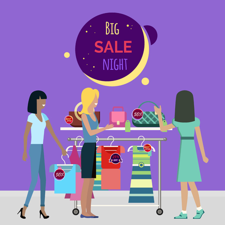 couture: Big night sale round banner. Sale in fashionable boutique. Girls near couture counter choose the dresses and bags. Best price on the modern brands. Sale at night in the store. Women shopping. Vector