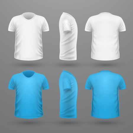 unisex: T-shirt template set, front, side, back view. White and blue colors. Realistic vector illustration in flat style. Sport clothing. Casual men wear. Cotton unisex polo outfit. Fashionable apparel.