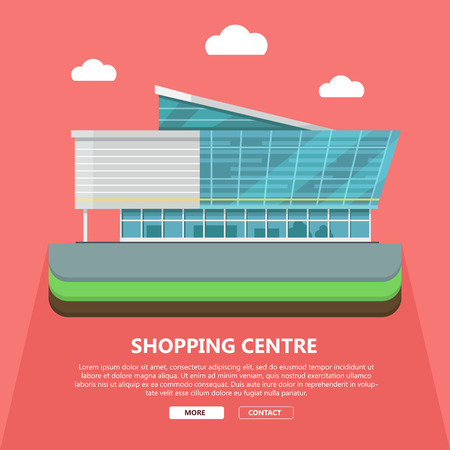 Shopping centre web page template. Flat design. Commercial building concept illustration for web design, banners. Shop, shopping center, mall, supermarket, business center background