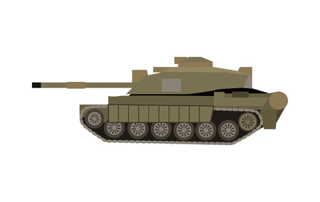 frontline: Military tank isolated on white. Armoured fighting vehicle designed for front-line combat, with heavy firepower, strong armour, tracks providing good battlefield manoeuvrability. Vector in flat style Illustration