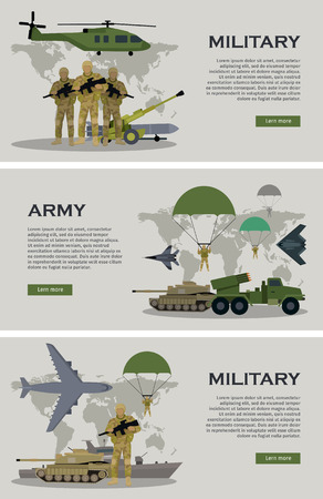 Military infographic banners with world map on background. Military soldier or officer with weapons. Airborne and infantry troops. War and ammunition concept. Men in camouflage combat uniform. Vector Vetores