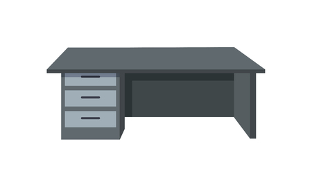 Black office desk isolated on white background. Modern piece of furniture in the office interior. Wooden table. Empty workplace. Editable element for your design. Flat style. Vector illustration.