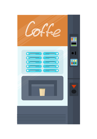 Vending machine for coffe. Automatic device for hot drinks. Slot coffee machine isolated on white. Part of the series of business office interior design. Auto beverage maker. Vector illustration Illustration