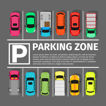 car park: Parking zone conceptual web banner. Parking place sign symbol. Parking lot or car park. City parking structure. Parkade. Shortage parking spaces. Large number of cars in crowded parking. Urban infrastructure. Vector Illustration