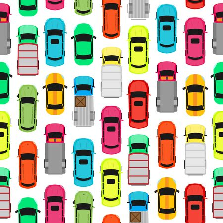 carport: Seamless pattern with cars on parking. Endless texture with different kinds of automobiles. Wallpaper design with transport vehicles. Parking lot or car park. Large number of cars in crowded parking. Vector