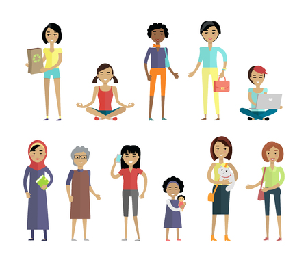 racial diversity: Set of women of different ages and races isolated on white. Variety of clothes, nationalities. Racial diversity concept. Woman template personages for fashion app, logos, infographic. Vector Illustration