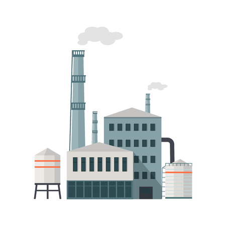 industrial building: Factory building with pipes in flat. Industrial factory building concept. Industrial plant with pipes. Plant with smoking chimneys. Factory icon. Isolated object in flat design on white background.
