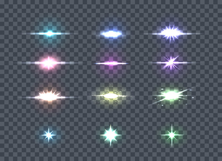 Set glows bright star lights. Glowing stars, sparkles, light flashes, shiny glitter on transparency. Glow bright star light firework. Glow, sparkle illuminated, flare effect, shine explosion. Vector
