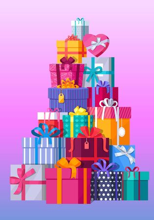 Set of gift boxes vector. Stack of presents in various bright, striped, spotted boxes tied colored ribbons. Beautifully wrapped surprise. Illustration for decoration, event management companies ad Illustration
