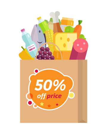 discount store: Sale in grocery store vector concept. Flat design. Purchases planning and buying fresh products for a week. Various foods sticking from paper bag with fifty percent discount. For shop, delivery ad