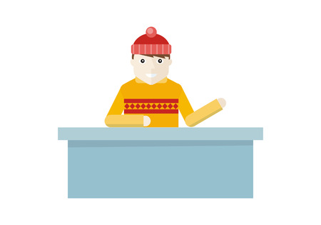 skating rink: Boy in red hat and sweater near reception at the skating rink. Boy buying tickets to the winter sport recreational activity, Outdoors winter season kinds of sport. Vector illustration in flat style