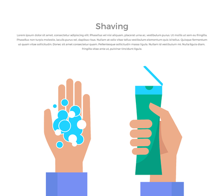basic care: Shaving banner illustration. Human basic hygiene conceptual illustration. Flat design. Tube of shaving gel in hand, foam bubble vector for skin care products ad, cosmetics companies, web page design.