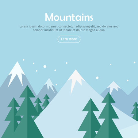 attainment: Mountains landscape web banner. Mountaineering mountain climbing Alpinism concept. Extreme hills in snowy high mountains. Sport season winter holiday resort. Blue sky and crystal white snow. Vector