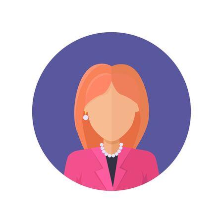 arbitrario: Mujer personaje avatar del vector en el diseño de estilo plano. Rojo-cabeza icono de personaje retrato femenino en el círculo azul. Ilustración para los conceptos de aplicaciones, pictogramas, infografía. Aislado en el fondo blanco.