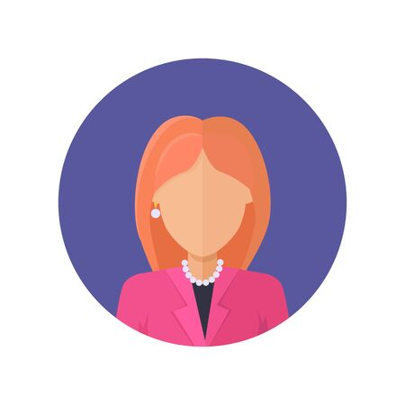 Woman character avatar vector in flat style design. Red-head female personage portrait icon in blue circle. Illustration for concepts, app pictograms, infographic. Isolated on white background. Çizim