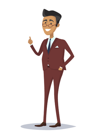 Male character in business suit vector. Flat style design. Team leader, boss, expert, teacher, successful businessman illustration. Giving good advice concept. Man with raised finger up smiling.