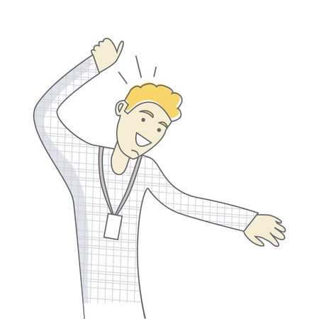 Successful business man dancing. Happy person. Banner with lucky successful business man. Funny student. Gentleman at the party having fun. Happiest moment in life. Vector illustration  イラスト・ベクター素材