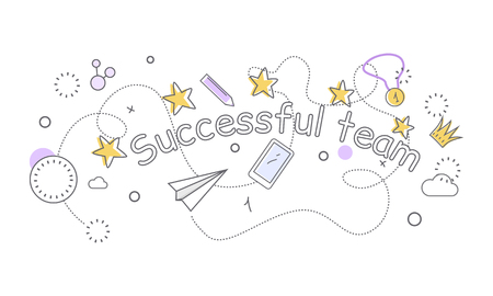 Successful team banner. Paper plane star medal clock crown cloud pen mobile phone. Things that bring good luck. Favourite items in the office work. Indispensable things. Vector illustration Illustration