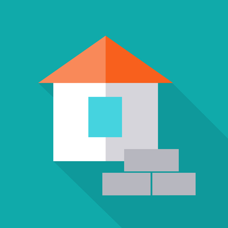 building bricks: Simple house with bricks vector illustration in flat style. Cottage icon for estate, building concepts, web page, app pictogram, infographics, logotype design. Isolated on blue background.