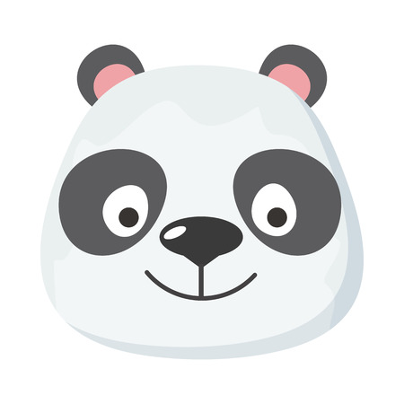 specie: Panda face vector. Flat design. Animal head cartoon icon. Illustration for nature concepts, children s books illustrating, printing materials, web. Funny mask or avatar. Isolated on white background Illustration