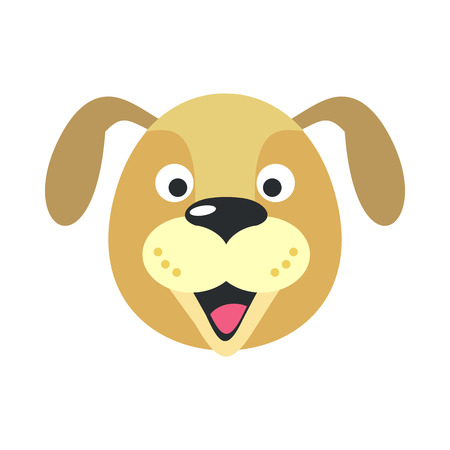 the children s: Dog face vector. Flat design. Animal head cartoon icon. Illustration for nature concepts, children s books illustrating, printing materials, web. Funny mask or avatar. Isolated on white background Illustration