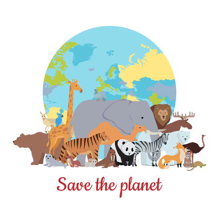 Save the planet baner. Various animals stands or sits on background of globe. Poster with elephant, giraffe, panda, fox, monkey, ostrich, bear, tiger, camel, kangaroo parrot zebra lion Illustration