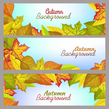 seasonally: Set of autumn background banners. Flat design vector. Horizontal illustrations with fallen colored tree leaves, blue gradient background and sample text. For nature concepts, seasonally ad design