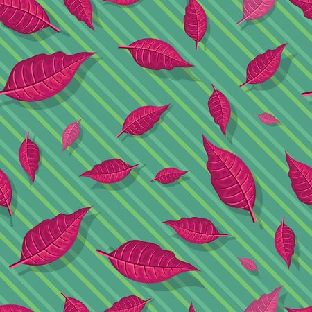 defoliation: Leaves vector seamless pattern. Flat style illustration. Falling red tree leaves on green background. Autumn defoliation. For wrapping paper, greeting card, invitation, printing materials design